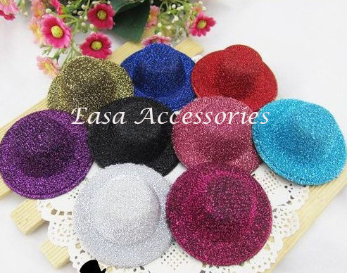 20PCS 5.5cm*2.5cm Mini Glitter Top Hat Hair accessories no clips back for DIY kids hair jewelry,kids Top Hat for headpieces(China (Mainland))
