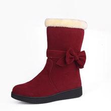 MoonMeek sıcak satış 2020 bayanlar kış sıcak kar botları kelebek düğüm akın kadın botları düşük topuk rahat düz yarım çizmeler(China)