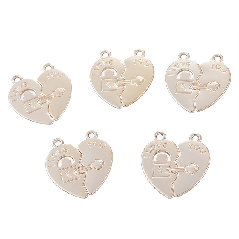 """New Fashion Lover Pendant Engraved """"I Love you"""" Broken Heart Key Lock Pattern Light Golden Summer Style Couple Jewelry 4*5Pairs(China (Mainland))"""