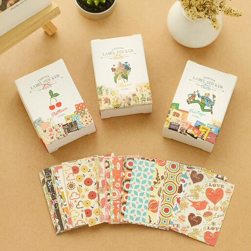 52 pcs bag diy mini cute flower paper sticker vintage for Sticky paper for crafts