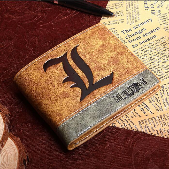 anime wallet Death Note L logo two folder leather purse <br><br>Aliexpress