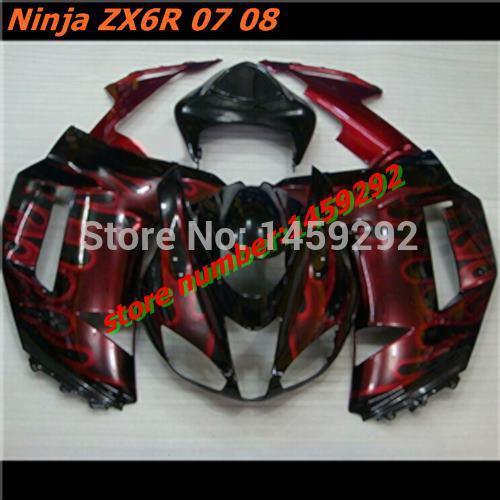 Fairing kits Fit KAWASAKI Ninja ZX6R 07 08 Motorcycle parts ZX 6R 636 2007 2008 ZX-6R Red flames black Fairings set(China (Mainland))
