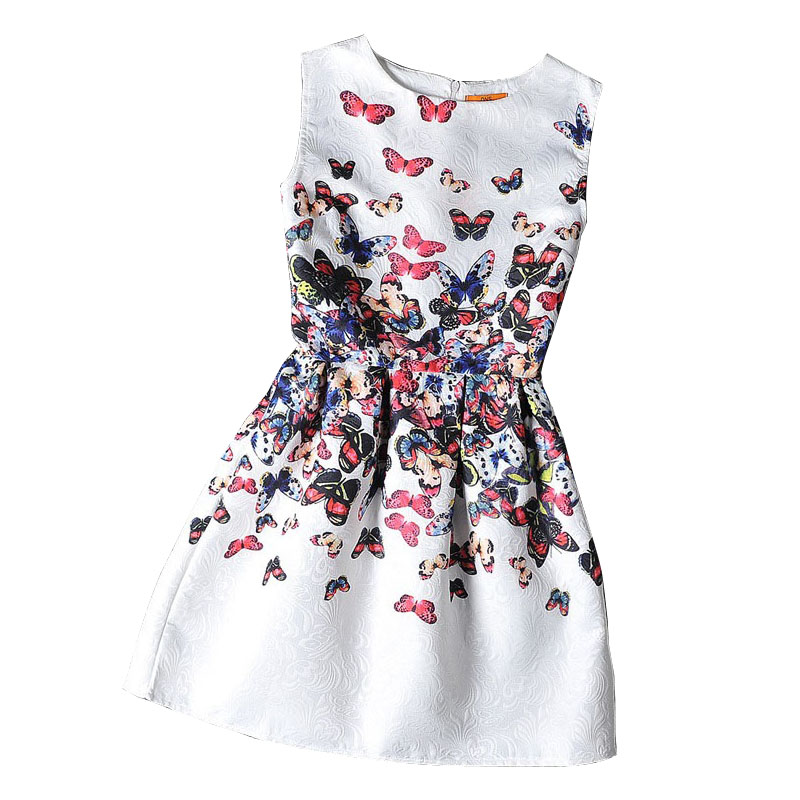 Girls formal dresses Teens designer Print flower Butterfly sleeveless dress easter holiday girl costume vestidos infantis(China (Mainland))