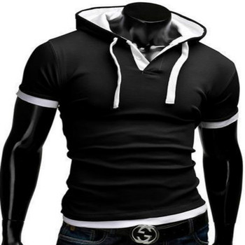 2015 summer new short-sleeved shirt POLO short sleeve casual fashion hooded sling design POLO shirt