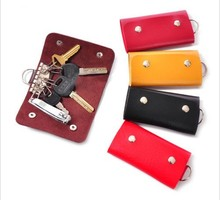 2014 New Fashion Mini Key Wallets Cheap Candy Colors PU Leather Bags For Key Holders