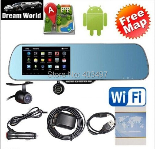 5 inch rearview mirror GPS android dual core 1080P Dashcam+backup Camera load map Navitel 9.1or full Europe map(China (Mainland))