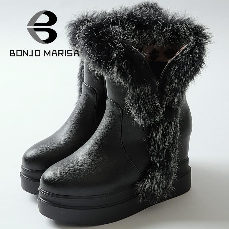 Women Snow Boots Warm Fur Uppers Thick Platform Shoes High Heel Wedges Outdoor Round Toe Half Knee High Boots Woman Winter Shoes