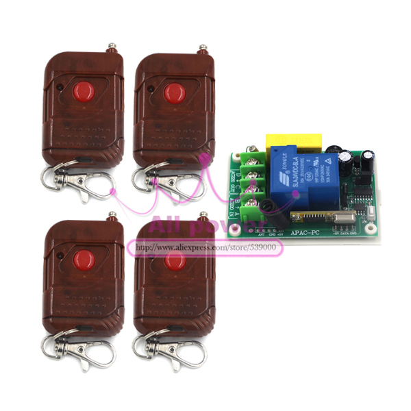 Remote wireless remote control switch terminal with 100m 1 button remote controllers switching power supply 220V