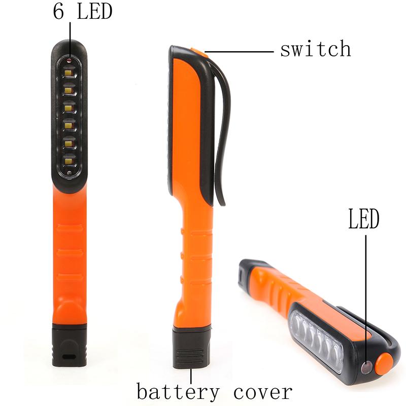 Creative 6+1 LED Mini Inspection Light Hand Lamp Pen Shape Size Pocket Clip Work Torch Flashlight(China (Mainland))
