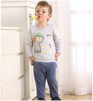 Детская одежда boyss устанавливает длинный рукав хлопок футболки брюки одежда Весна малышей bebe животных собаки бесплатно drop Доставка