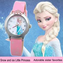 New Cartoon Children Watch Princess Elsa Anna Watches Fashion Girl Kids Student Cute Leather Sports Analog Wrist Watches relojes(China (Mainland))
