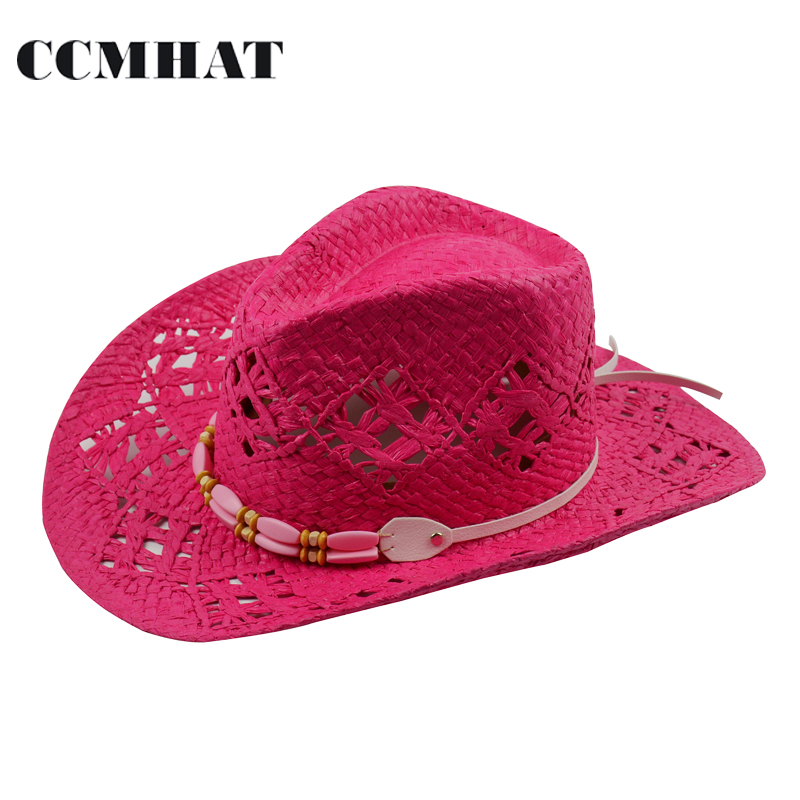Women's Cowboy Hats Big Red Adult Straw Hats Summer Fashion Cowboy Hats For Women's Hollow Cowboy Hat Caps Clothing Accessories(China (Mainland))