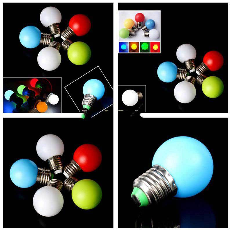 BuyOneer Shop 5 Colors 1W E27 Single Color LED Light Lamp Bulb Replacement DIY 80Lm(China (Mainland))