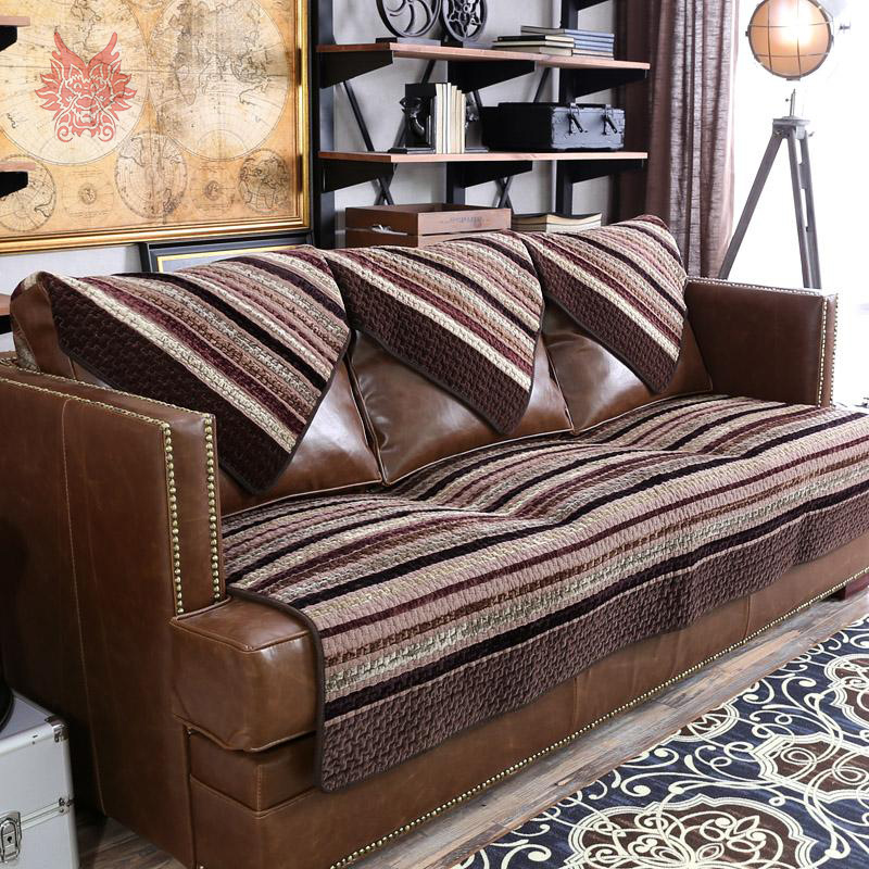 American style Classical striped thick plush sofa cover for wither/autumn,high grade 100%cotton Duplex sofa cover SP2120