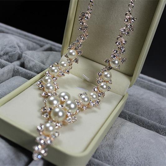 Гаджет  Free Shipping Elegant Korea Style Bride Wearing Jewelry Dress Love Crystal Pearl Necklace Female Short Clavicular Necklace JJ66 None Ювелирные изделия и часы