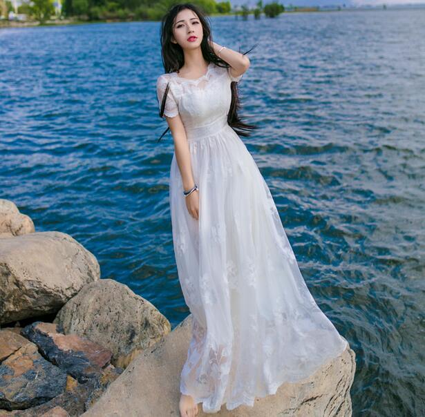 New fashion Heavy embroidery crochet lace dress put on a large bohemian dress fairy beach vacation long dress D1598(China (Mainland))