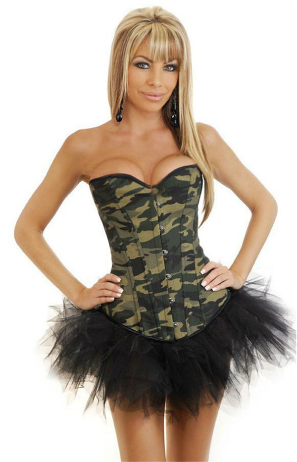 Sexy Camouflage Corset With Skirt , Army Camo Basque Bustier Tutu(China (Mainland))