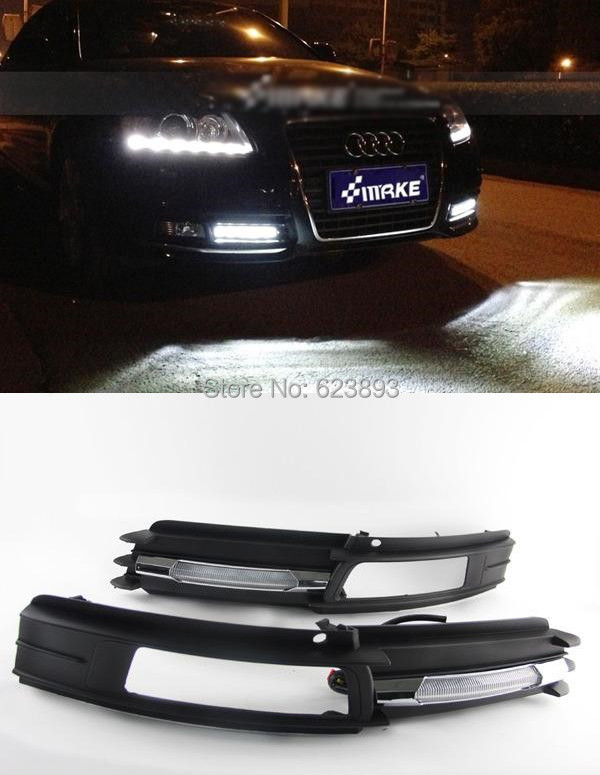Free shipping,2x CAR-Specific Super bright White LED Chrome Daytime Running Fog Lights Lamp DRL Grill For AUDI A6 A6L 2009-2011(China (Mainland))