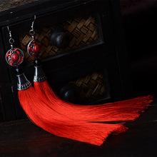 Exaggerate women Ethnic vintage earrings long  fringe earrings red,Handmade Chinese  Jewelry tassel earrings(China (Mainland))