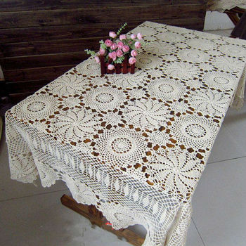 """66"""" x 122"""" Oblong   (170*310CM )  Beige Handmade Crocheted  Tablecloths, Made to Order"""