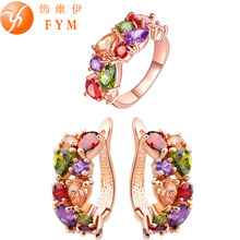 FYM Mona Lisa Colorful Crystal Ring Earrings Rose Gold Plated Jewelry Sets for Women Multicolor Jewelry Set Wholesale(China (Mainland))
