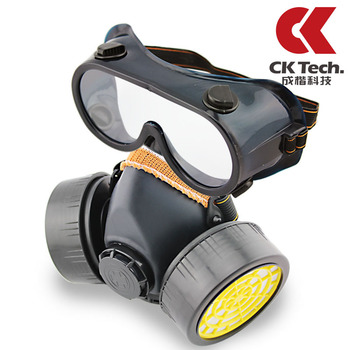 2013 NEW freeshipping dual filter gas respirator air valve breathable tear gas protective Industrial Safety Equipment mask