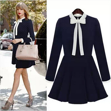women elegant long sleeve one piece big bow preppy style. Black Bedroom Furniture Sets. Home Design Ideas