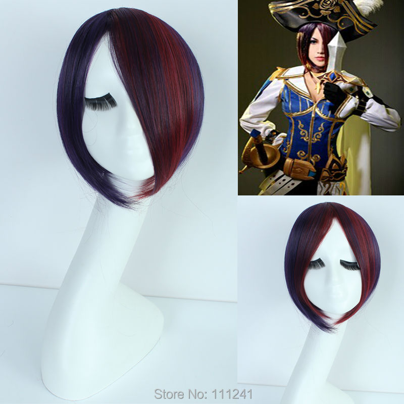 League of Legends Fiora Short Dark Red Mixed Purple Anime Cosplay Wig