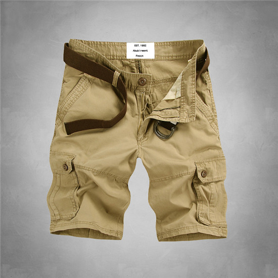 New Summer Mens Brand Multi Pocket Baggy Short Cargo Pants Overalls Male Casual Cotton Military Trousers High Quality(China (Mainland))