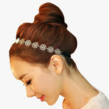 1pcsWomens Fashion Headband For Hair Accessories Jewelry Metal Chain Jewelry Hollow Rose Flower Elastic Hair Styling Tools(China (Mainland))