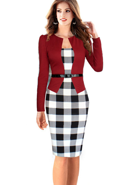 2016  Autumn/winter European And American New Star With False Two Pieces Long Sleeved Lattice Stitching Waist Hip Pencil Dress