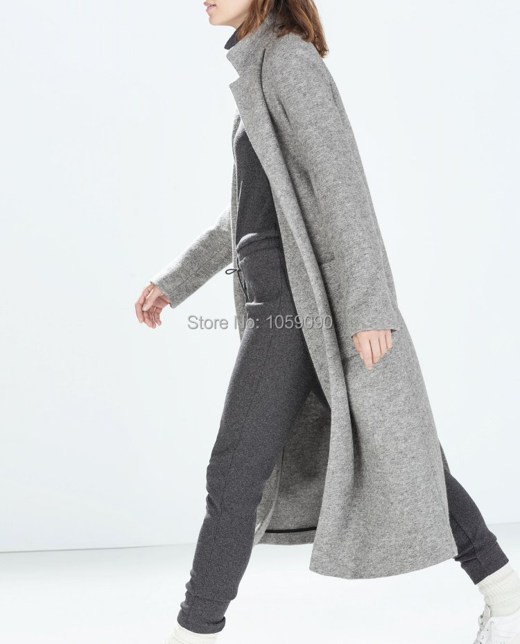 Grey Wool Trench Coat Womens - JacketIn