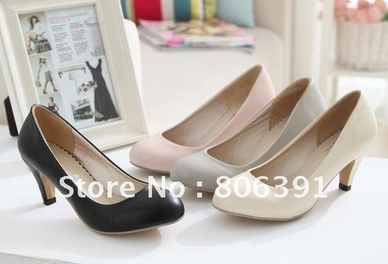 Low heel lady shoes, brief/ simple women fashion shoes/pumps,round toe high-heeled dress shoes.pink,beige,black,grey - Skyejason Super Store store