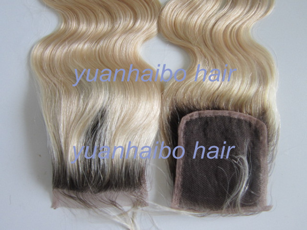 """Здесь можно купить  In Stock! 6a quality two tone #2T#613 body wave virgin peruvian blond ombre lace top closure 4""""X4"""" free shipping In Stock! 6a quality two tone #2T#613 body wave virgin peruvian blond ombre lace top closure 4""""X4"""" free shipping Волосы и аксессуары"""