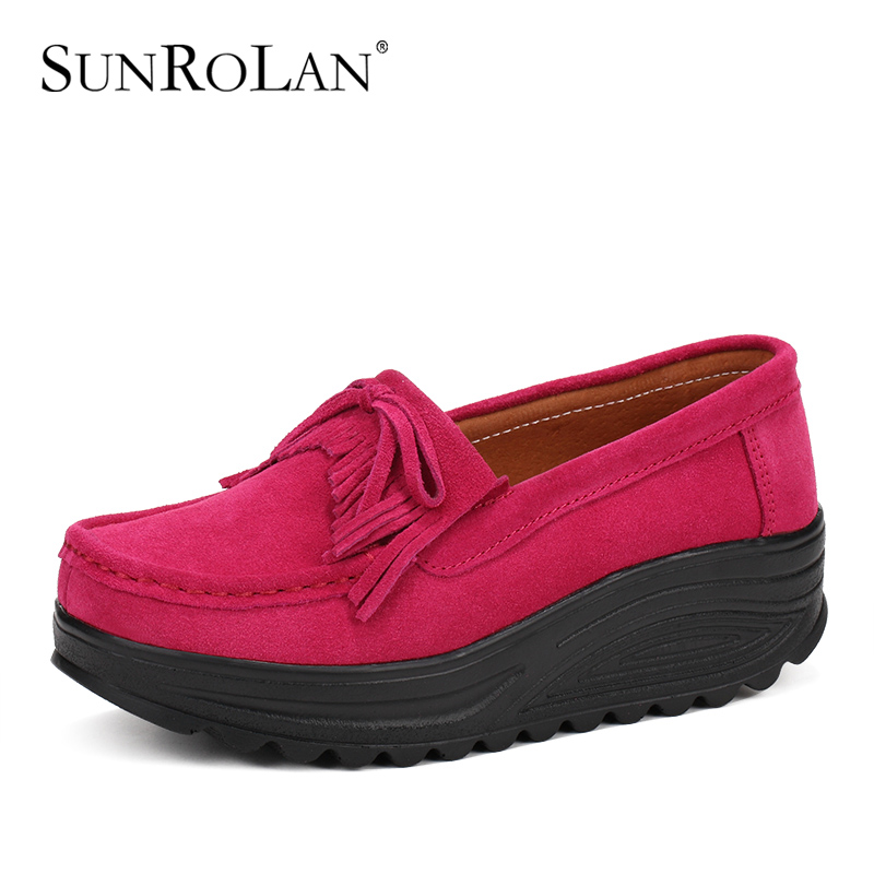 SUNROLAN Spring Women Flat Platform Shoes Fashion Bow Suede Driving Moccasins Slip On Tassel Loafers Women Shape Up Shoes NE830(China (Mainland))