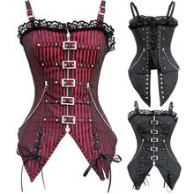 2016 New Fashion Striped Gothic Punk Steampunk Overbust Corset Waist Training Corsets And Bustiers Plus size XXL body Shaper