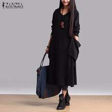 Buy ZANZEA Fashion Autumn Dress 2016 Women Cotton Casual Loose Long Dresses Long Sleeve V Neck Vestidos Plus Size S-5XL for $11.74 in AliExpress store