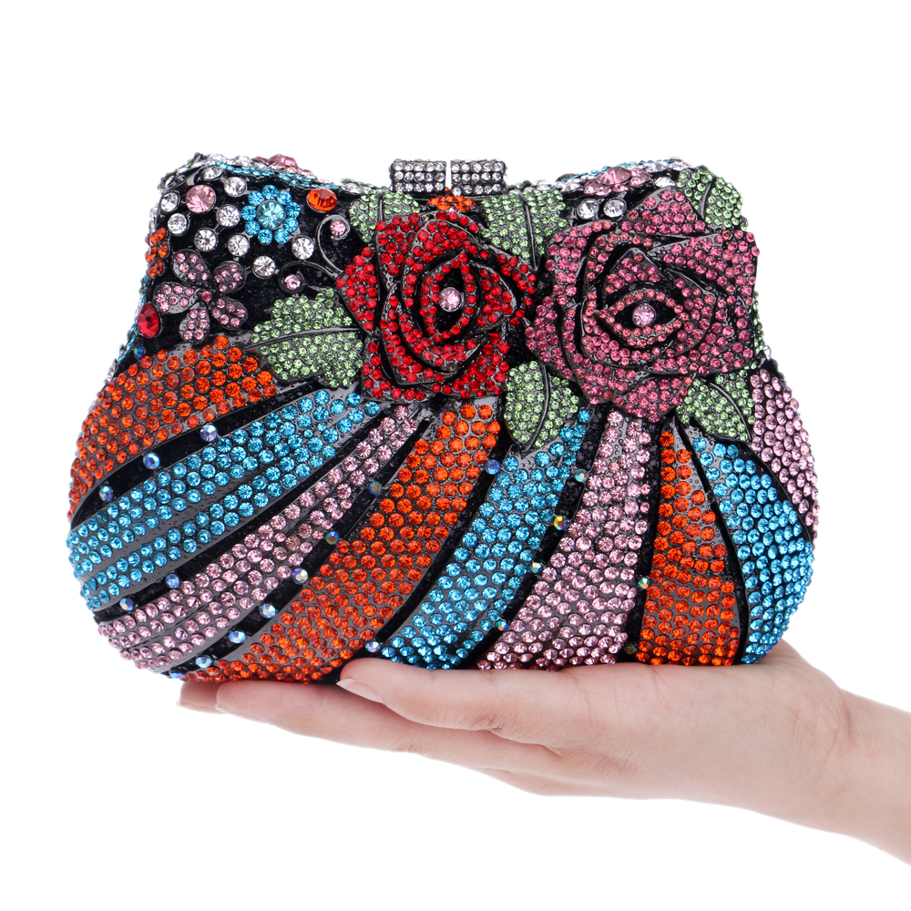 Здесь можно купить  Luxurious flower design full diamonds women evening bags shell design colorful rhinestones evening bags  Камера и Сумки