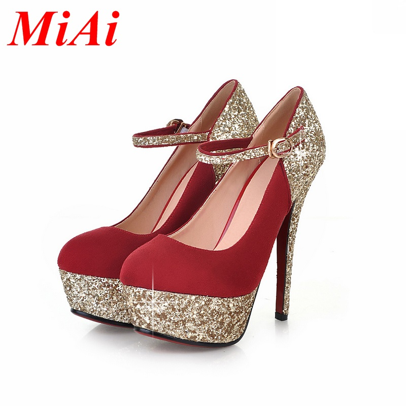 2016 spring fashion women pumps sexy red bottom high heels fashion glitter thin heel shoes ladies party wedding pumps for women<br><br>Aliexpress