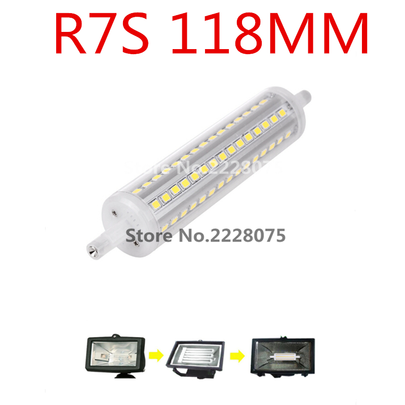 Shot 72 SMD LED bulb 118 mm R7S 2835 10 w 1000 lm replace halogen lamp With transparent cover 110v 220v WARM /COOL WHITE(China (Mainland))