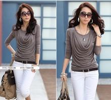 Free shipping ! 2014 summer women new fashion commuter fake two  career long sleeve T shirt(China (Mainland))