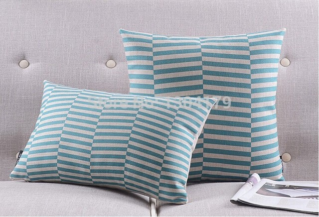 Blue Striped Throw Pillow Cover : Blue striped Pillow Home Decor, Modern Style,Throw Pillow Covers Set of 2 Pillows Cushions ...