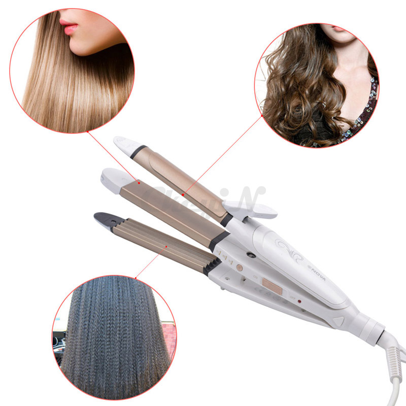 3 In 1 Multifunctional Hair Styling Tools Electronic Hair Straightening Irons + Corn Plate + Hair Curler Magic Curls HS45_2545(China (Mainland))