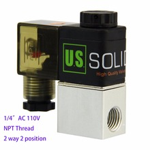 """U.S.Solid 1/4"""" 2 Way 2 Position Pneumatic Electric Solenoid Valve AC 110 V NPT Thread Aluminum Alloy ISO Certificated(China (Mainland))"""
