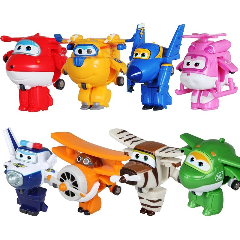 8PCS/Set Super Wings Mini Airplane ABS Robot Toys Action Figures Super Wing Transformation Jet Animation Children Kids Gift CJ1(China (Mainland))