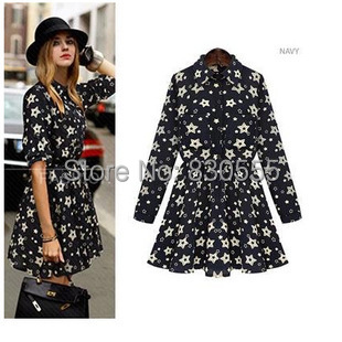Large size women 2014 new winter Lapel long sleeves printed self-cultivation Floral Dress - Online Store 830555 store