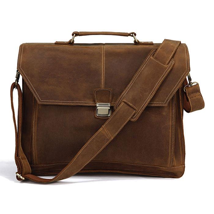 Cowhide male big handbag messenger bag laptop bag 7083 white collar<br><br>Aliexpress