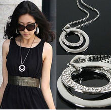 Buy Long Chain Women Fashion Crystal Rhinestone Chunky Silver Plated Double Circle Pendant Necklace for $1.17 in AliExpress store