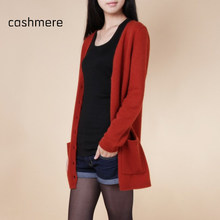 2015 lady wool sweater Fashion medium long cashmere cardigan women loose sweater for female outerwear coat with pockets(China (Mainland))