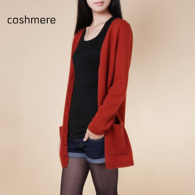 spring new sweaters women wool medium long cardigan cashmere material loose sweater for female outerwear coat with pockets(China (Mainland))
